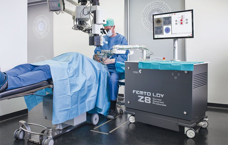 New femtosecond laser Ziemer FEMTO LDV Z8, which is also used in cataract surgery.